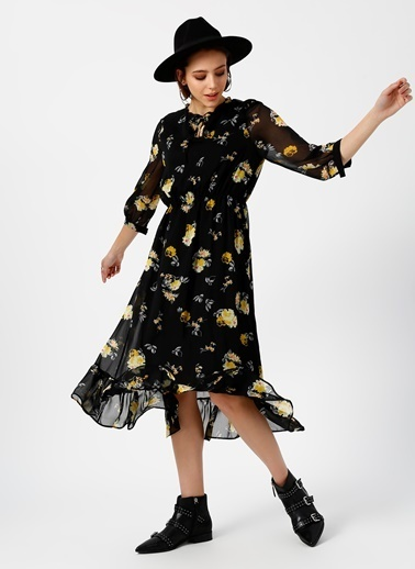 Limon Company Çiçekli Uzun Şifon Elbise Siyah